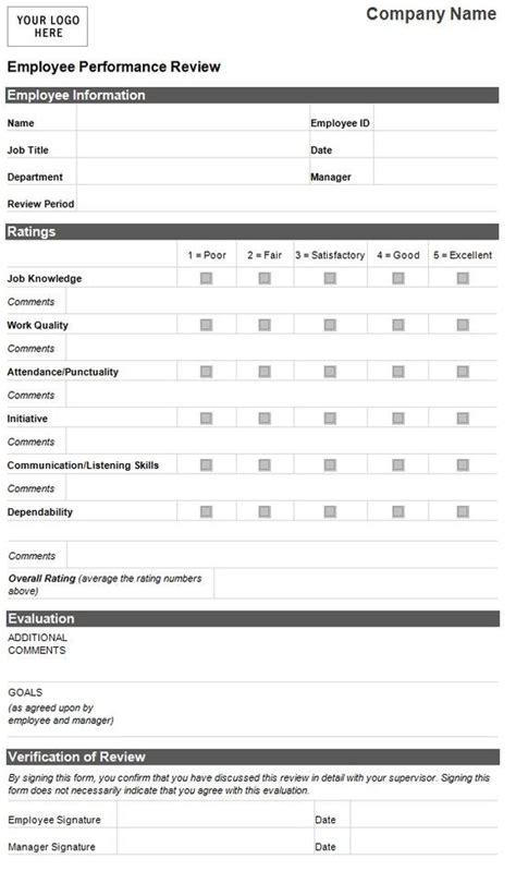 22480 employee evaluation form exle employee evaluation template employee performance