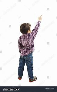 Back View Little Boy Points Wall Stock Photo 255828898 ...
