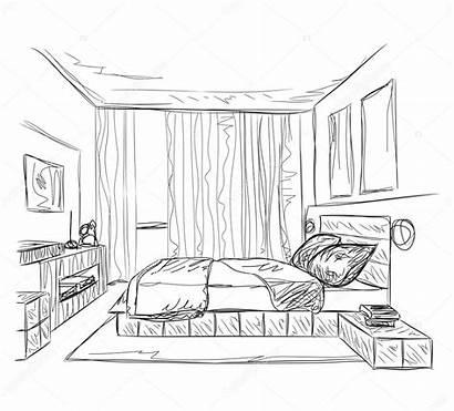 Bedroom Sketch Interior Drawing Quarto Slaapkamer Interieur