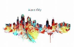Kansas City Skyline Silhouette Mixed Media by Marian Voicu