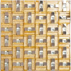 Gold 304 Stainless Steel Mosaic Tile Yellow Crystal Glass