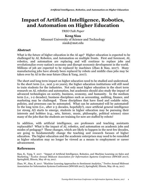 (PDF) Impact of Artificial Intelligence, Robotics, and