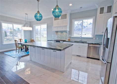 white kitchen with blue backsplash new white kitchen cabinets with blue glass backsplash gl 1832