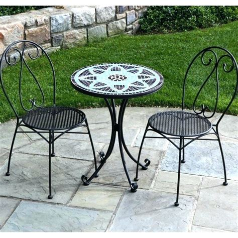 Small Patio Table Set by Small Outdoor Bistro Table Set Mosaic Patio Folding White