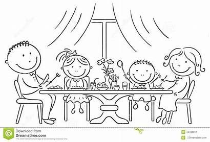 Together Meal Having Happy Dinner Sketch Colouring