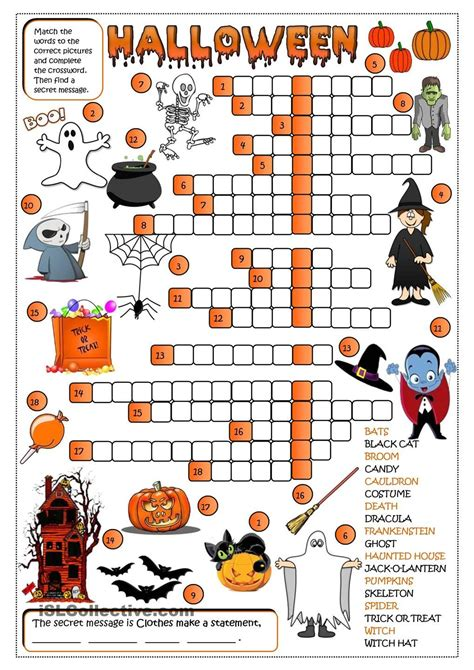 halloween crossword  images halloween worksheets