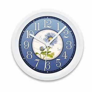 Blue, Flowers, Custom, Printed, Wall, Clock