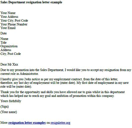 sales department resignation letter examples