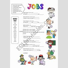 Jobs Song  Fill In The Blanks Activity  Esl Worksheet By Gyzmys