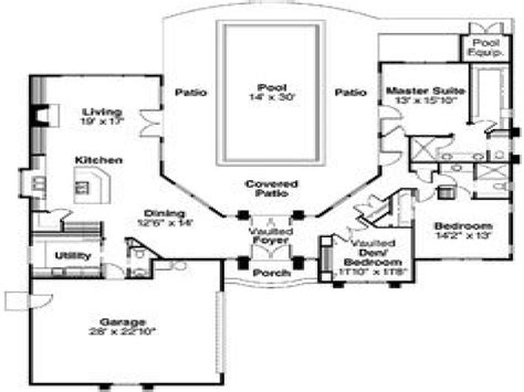 pool house plans  courtyard indoor swimming pools house mediterranean courtyard house plans