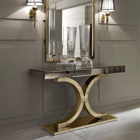 console table furniture designer italian bronze mirrored glass modern gold console
