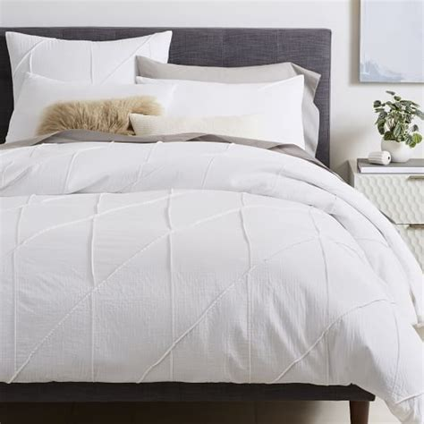 what is a duvet cover organic pleated grid duvet cover shams west elm