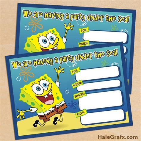 spongebob birthday card template free spongebob invite free printable spongebob squarepants