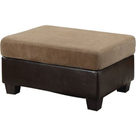 light brown leather ottoman connell collection corduroy and faux leather ottoman