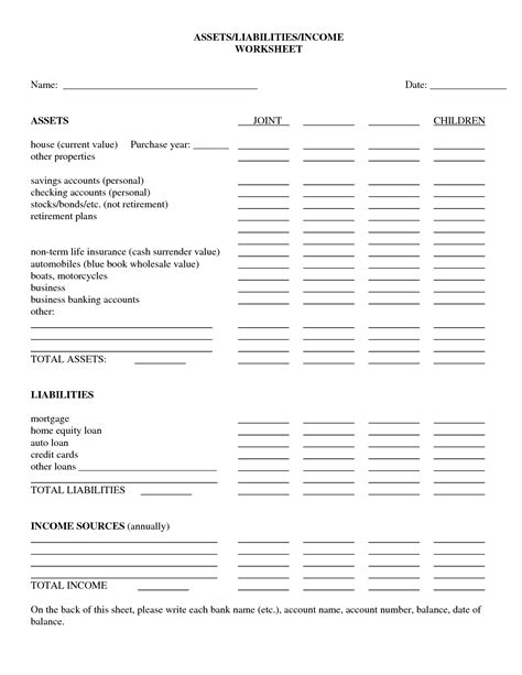 printables assets and liabilities worksheet mywcct