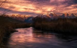 Nature, Landscape, River, Mountain, Sunset, Snowy, Peak