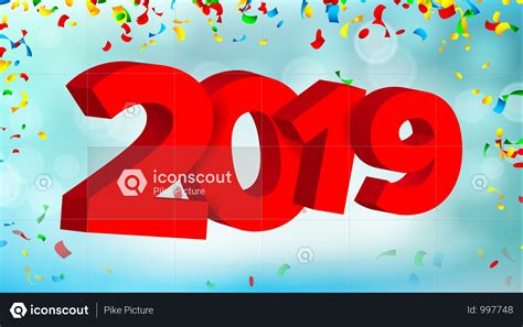 Premium 2019 3d Sign Vector. Numbers 2019 Sign. Modern