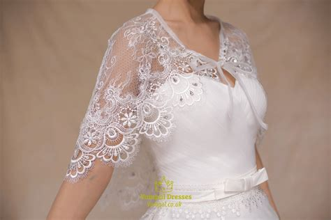 Pullover White Lace Wedding Wrap With Lace-up