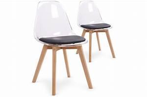 Pouf Scandinave Pas Cher : lot de 2 chaises scandinaves transparentes et coussin noir sully chaise design pas cher ~ Teatrodelosmanantiales.com Idées de Décoration