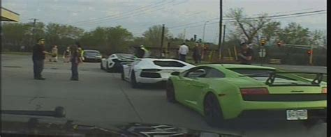 Police Dashcam Video Captures Pack Of Exotic Sports Cars