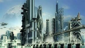 Futuristic cityscape with metallic skyscrapers and ...