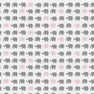 Gray and Pink Elephant Parade Fabric by the Yard Pink