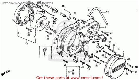 honda ct90 trail 1975 k6 usa left crankcase cover alternator schematic partsfiche