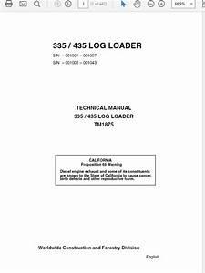 John Deere 335 435 Log Loader Technical Manual Tm