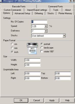 configure  modify basic zebradesigner driver settings