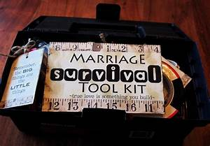 Creative quottryquotals marriage survival tool kit for Funny wedding gift ideas