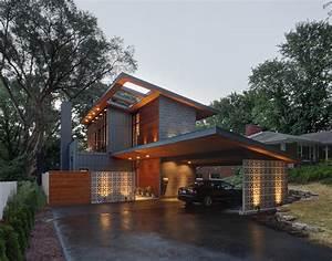 concrete block house exterior midcentury with skylight