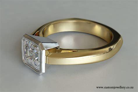 yellow gold asscher diamond solitaire engagement ring