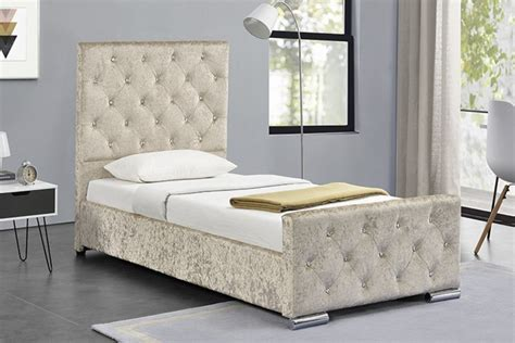 sleep design beaumont ft single crushed gold velvet