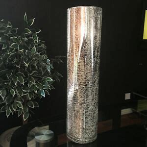 Silver Crackle Vase by Large Silver Mercury Crackle Mirrored Glass Vase 39cm