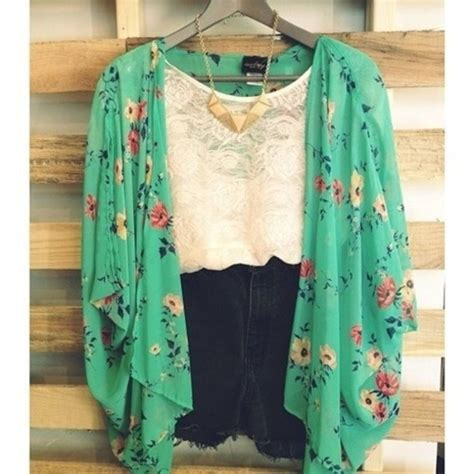 Shirt mint floral shorts green pretty girly flowers festival summer jacket lace high ...