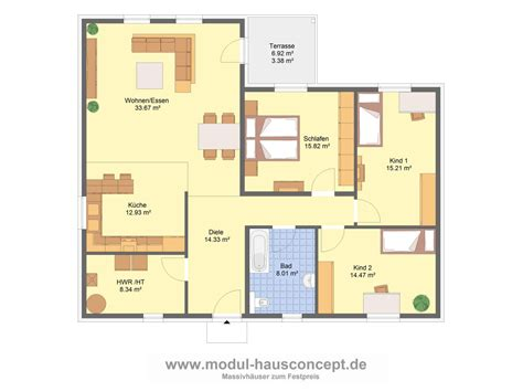 Grundrisse Bungalow 130 Qm by Modul Hausconcept Bungalows