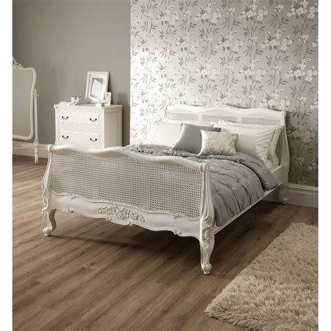 rattan sleigh antique french bed shabby chic furniture