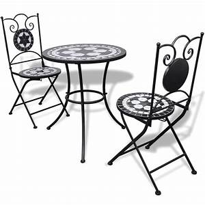 Mosaik Gartenmöbel Set : garten bistro set mosaik st hle tisch 60 cm schwarz wei ~ Watch28wear.com Haus und Dekorationen