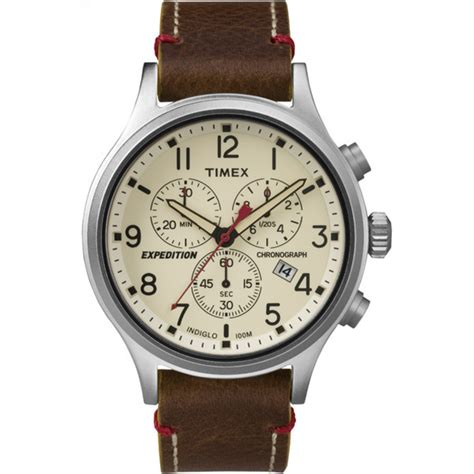 timex s expedition scout chronograph leather