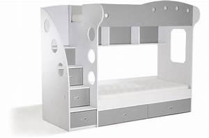 Lit 3 Couchages : lit combin 2 couchages blanc gris laila design sur sofactory ~ Teatrodelosmanantiales.com Idées de Décoration
