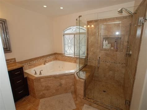 corner tub shower seat master bathroom reconfiguration yorba linda ideas