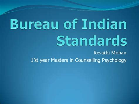 bureau of standards bureau of indian standards bis
