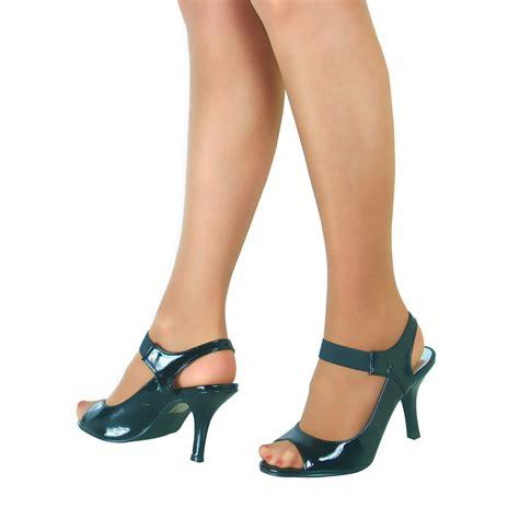 womens ladies  mid heel mary jane strap work party