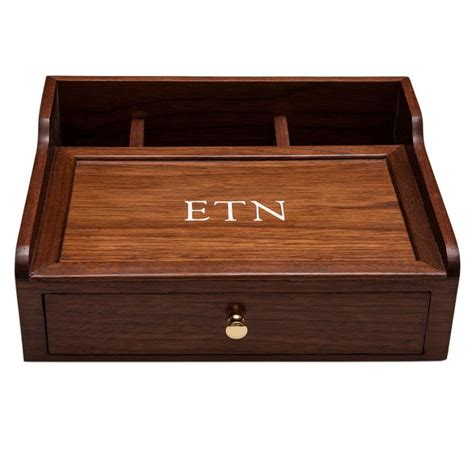 desk box dresser box mens valet desk organizer walnut wood custom item  ojays love