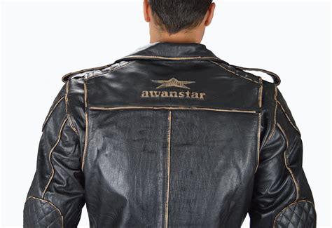 Motorrad Lederjacke, Biker Herren Lederjacke