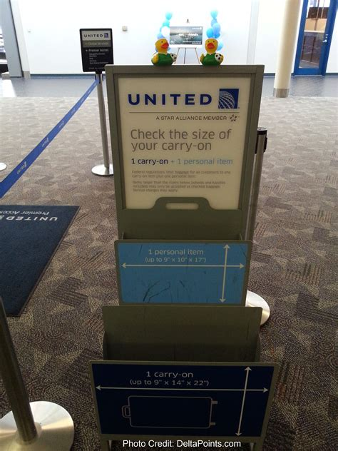 united checked baggage the carry on bag checker unit at united check in