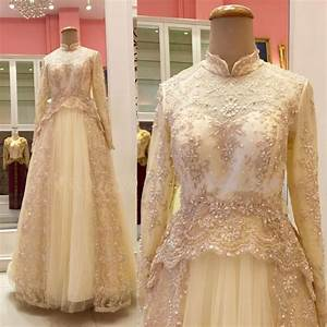 beaded high neck long sleeve tulle bridal gown gold muslim With gold wedding dresses with sleeves