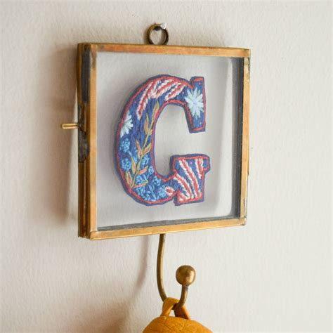 botanical embroidery personalised letter monogram hook  lucy freeman design