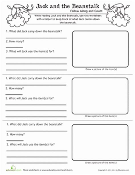 jack and the beanstalk follow along and count worksheet education