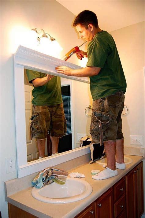 framed mirror diy trim crown molding liquid nails